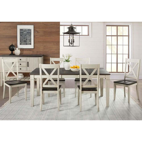 A-America Huron 7 Piece Leg Dining Room Set in Cocoa-Chalk