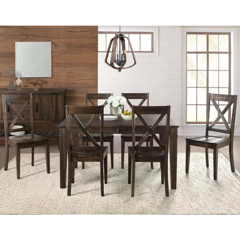 A-America Huron 7 Piece Leg Dining Room Set in Weathered Russet