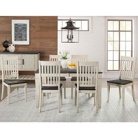 A-America Huron 7 Piece Leg Dining Room Set w/Slat Chairs in Cocoa-Chalk