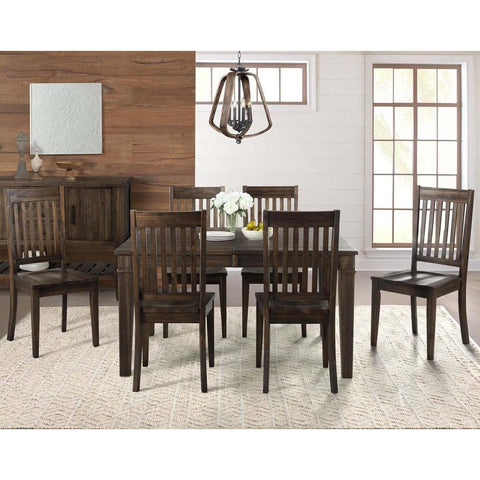 A-America Huron 7 Piece Leg Dining Room Set w/Slatback Chairs in Weathered Russet