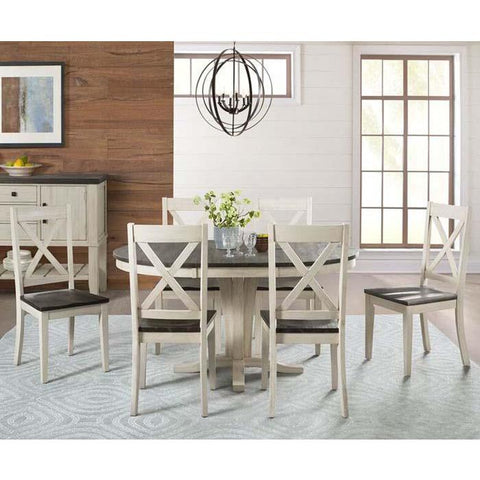 A-America Huron 7 Piece Pedestal Dining Room Set in Cocoa-Chalk