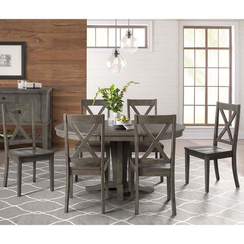 A-America Huron 7 Piece Pedestal Dining Room Set in Distressed Grey