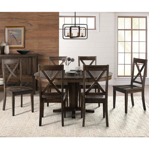 A-America Huron 7 Piece Pedestal Dining Room Set in Weathered Russet