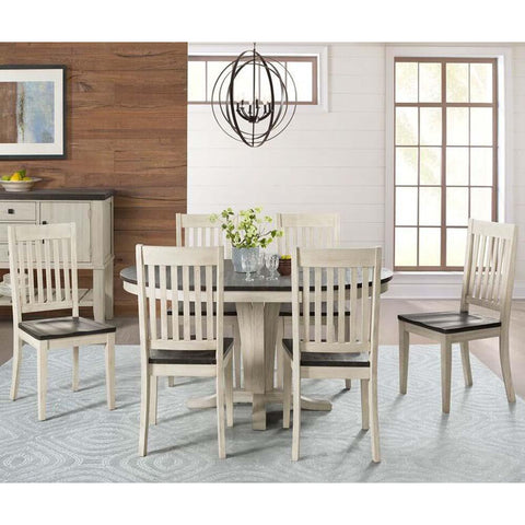 A-America Huron 7 Piece Pedestal Dining Room Set w/Slat Chairs in Cocoa-Chalk