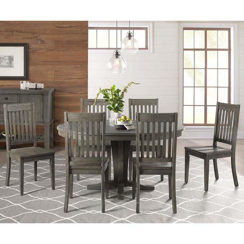 A-America Huron 7 Piece Pedestal Dining Room Set w/Slatback Chairs in Distressed Grey
