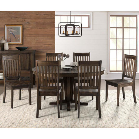 A-America Huron 7 Piece Pedestal Dining Room Set w/Slatback Chairs in Weathered Russet