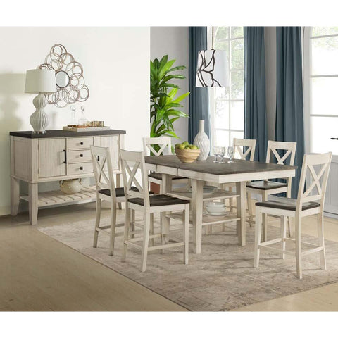 A-America Huron 8 Piece Gather Height Table Set in Cocoa-Chalk