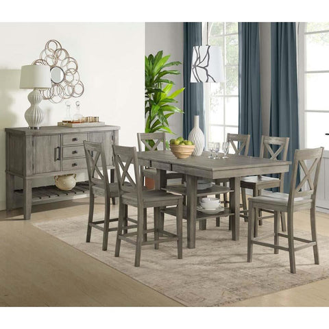 A-America Huron 8 Piece Gather Height Table Set in Distressed Grey