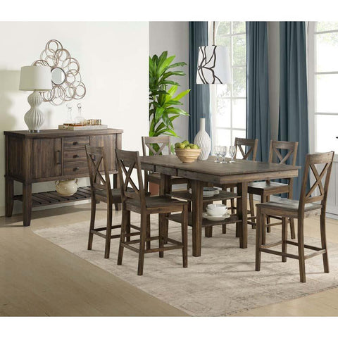 A-America Huron 8 Piece Gather Height Table Set in Weathered Russet