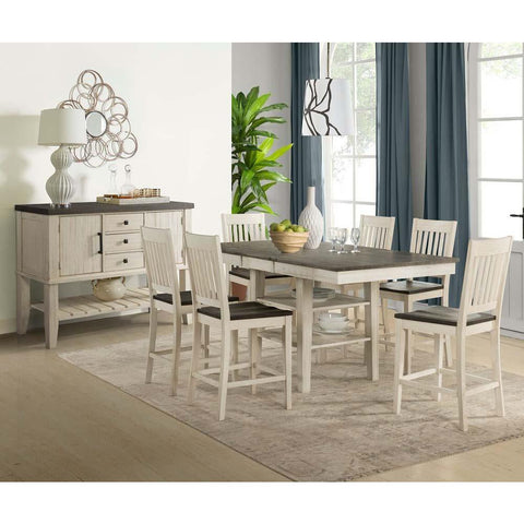 A-America Huron 8 Piece Gather Height Table Set w/Slat Barstools in Cocoa-Chalk