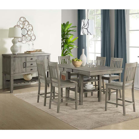 A-America Huron 8 Piece Gather Height Table Set w/Slatback Barstools in Distressed Grey