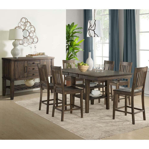A-America Huron 8 Piece Gather Height Table Set w/Slatback Barstools in Weathered Russet
