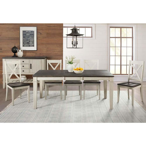 A-America Huron 8 Piece Leg Dining Room Set in Cocoa-Chalk