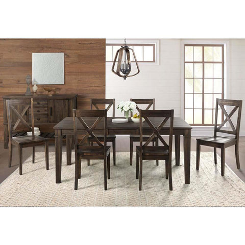 A-America Huron 8 Piece Leg Dining Room Set in Weathered Russet