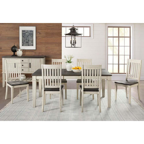 A-America Huron 8 Piece Leg Dining Room Set w/Slat Chairs in Cocoa-Chalk