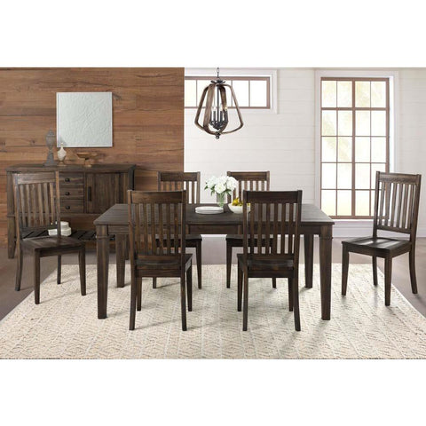 A-America Huron 8 Piece Leg Dining Room Set w/Slatback Chairs in Weathered Russet