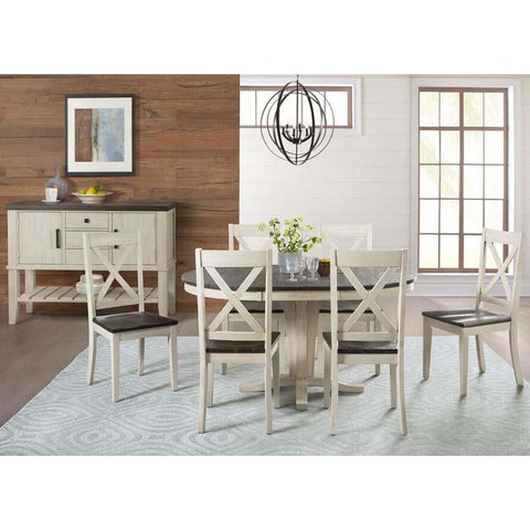 A-America Huron 8 Piece Pedestal Dining Room Set in Cocoa-Chalk