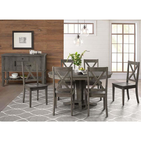 A-America Huron 8 Piece Pedestal Dining Room Set in Distressed Grey