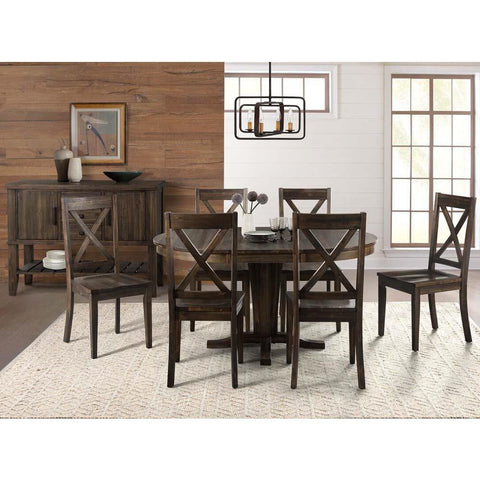 A-America Huron 8 Piece Pedestal Dining Room Set in Weathered Russet
