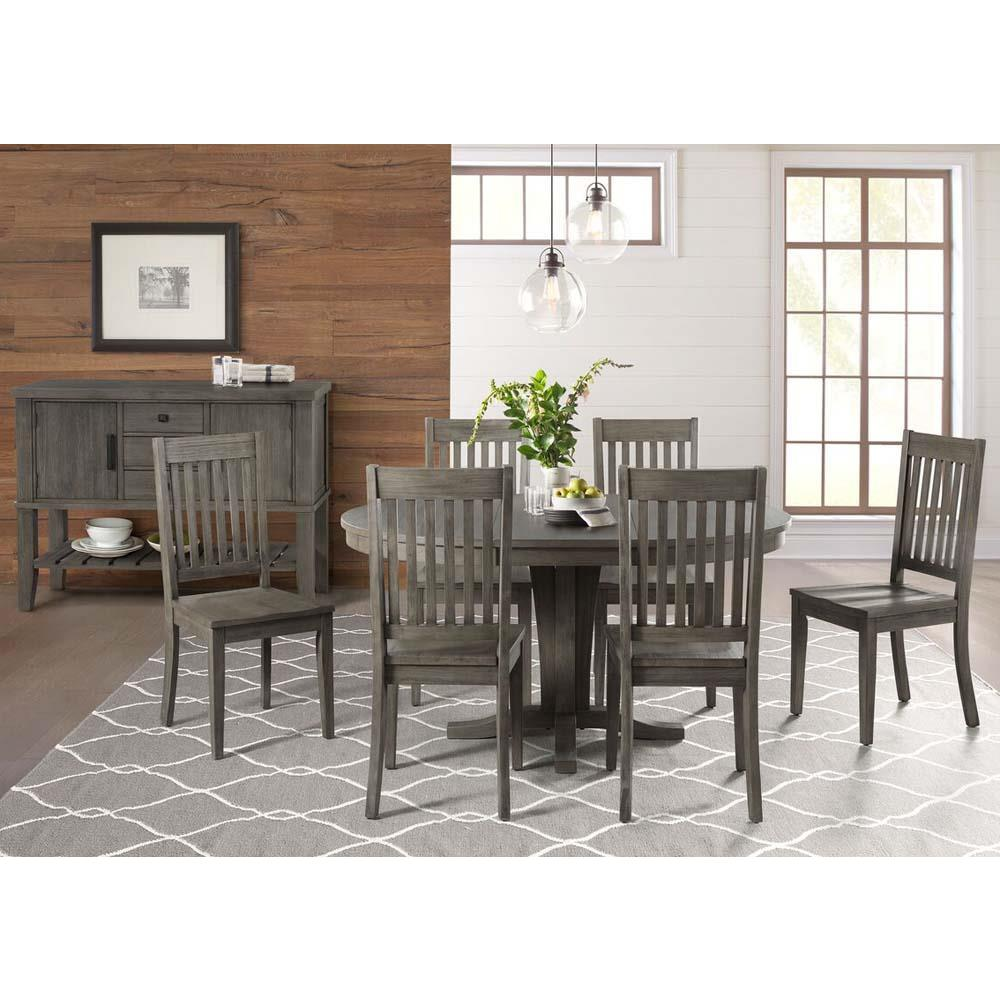 A-America Huron 8 Piece Pedestal Dining Room Set w/Slatback Chairs in  Distressed Grey