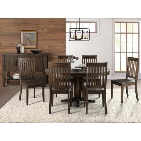 A-America Huron 8 Piece Pedestal Dining Room Set w/Slatback Chairs in Weathered Russet