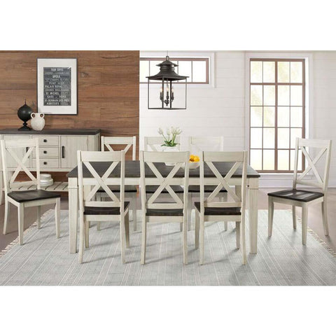 A-America Huron 9 Piece Leg Dining Room Set in Cocoa-Chalk
