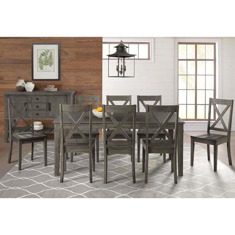 A-America Huron 9 Piece Leg Dining Room Set in Distressed Grey