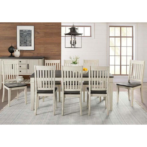 A-America Huron 9 Piece Leg Dining Room Set w/Slat Chairs in Cocoa-Chalk
