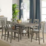 A-America Huron Gather Height Leg Table w/Leaf in Distressed Grey