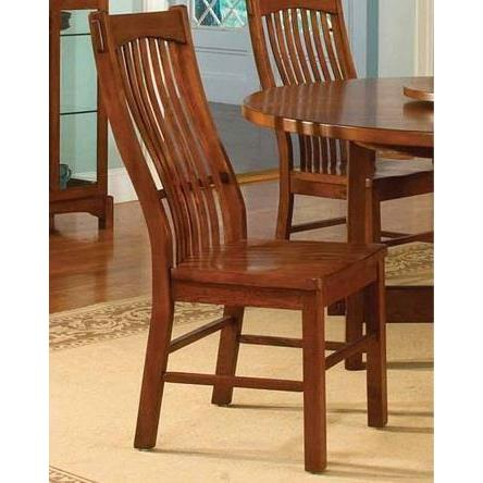 A-America Laurelhurst Slatback Side Chair, Contoured Solid Wood Seat, Mission Oak Finish