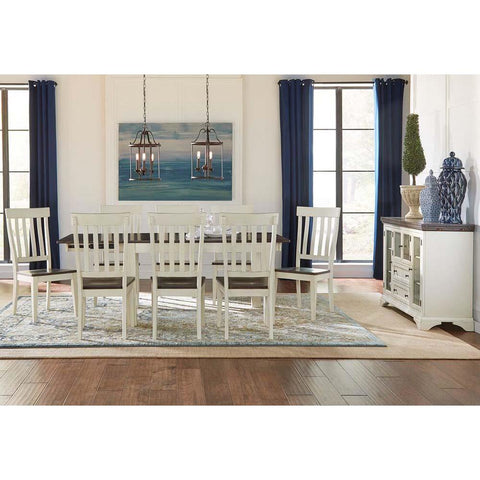 A-America Mariposa 10 Piece Leg Dining Room Set in Cocoa-Chalk