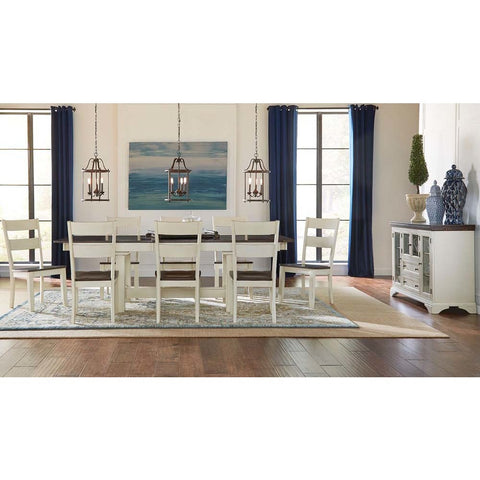 A-America Mariposa 10 Piece Trestle Dining Room Set in Cocoa-Chalk