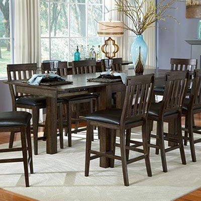 A-America Mariposa 11 Piece Gathering Height Leg Table Set w/Butterfly Leaves in Warm Grey