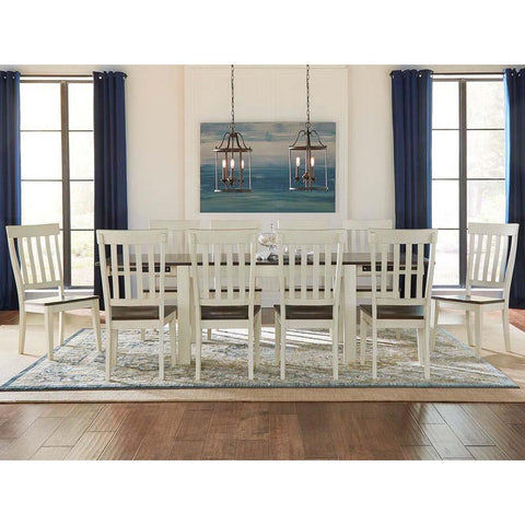 A-America Mariposa 11 Piece Leg Dining Room Set in Cocoa-Chalk