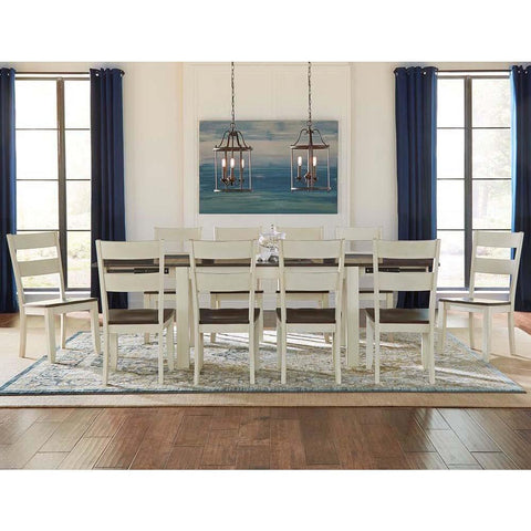A-America Mariposa 11 Piece Leg Dining Room Set w/Ladderback Chairs in Cocoa-Chalk