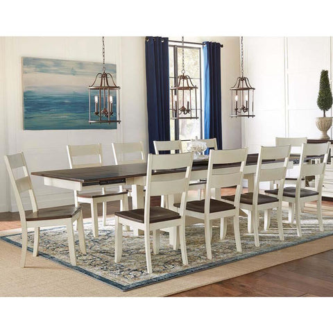 A-America Mariposa 11 Piece Trestle Dining Room Set in Cocoa-Chalk