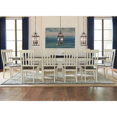 A-America Mariposa 11 Piece Trestle Dining Room Set w/Slatback Chairs in Cocoa-Chalk