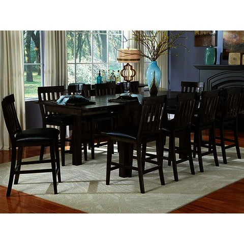 A-America Mariposa 12 Piece Gathering Height Leg Table Set w/Butterfly Leaves in Warm Grey