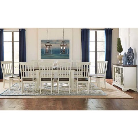A-America Mariposa 12 Piece Leg Dining Room Set in Cocoa-Chalk