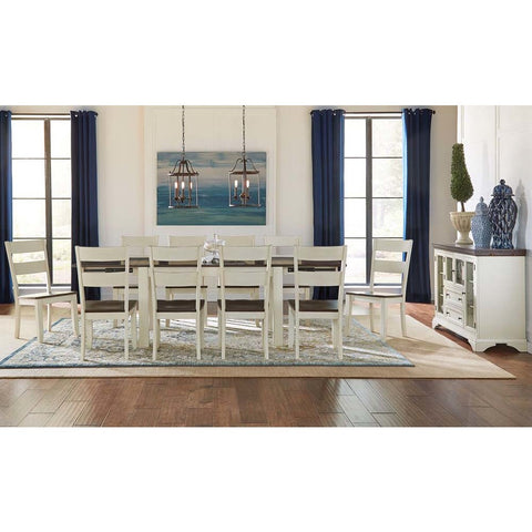 A-America Mariposa 12 Piece Leg Dining Room Set w/Ladderback Chairs in Cocoa-Chalk