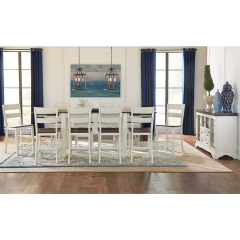 A-America Mariposa 12 Piece Leg Gathering Height Table Set in Cocoa-Chalk