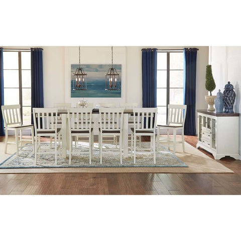 A-America Mariposa 12 Piece Leg Gathering Height Table Set w/Slatback Chairs in Cocoa-Chalk