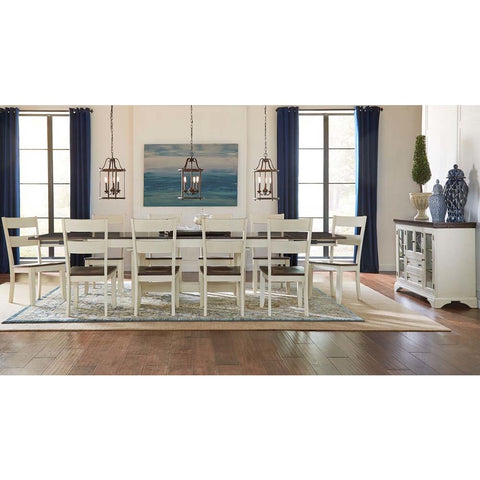 A-America Mariposa 12 Piece Trestle Dining Room Set in Cocoa-Chalk