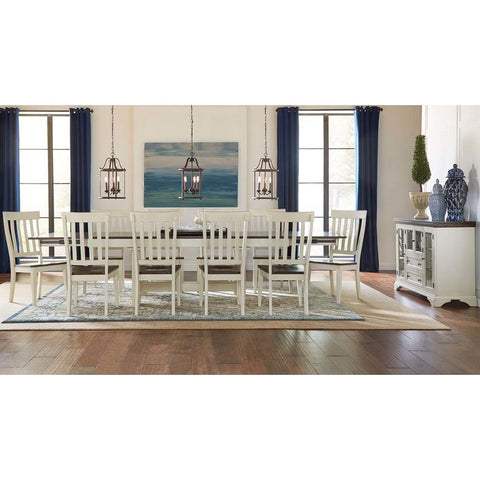 A-America Mariposa 12 Piece Trestle Dining Room Set w/Slatback Chairs in Cocoa-Chalk