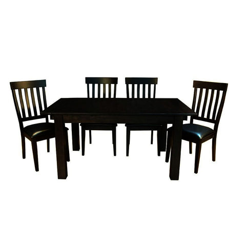 A-America Mariposa 5 Piece Leg Dining Room Set w/Slat Back Chairs in Warm Grey