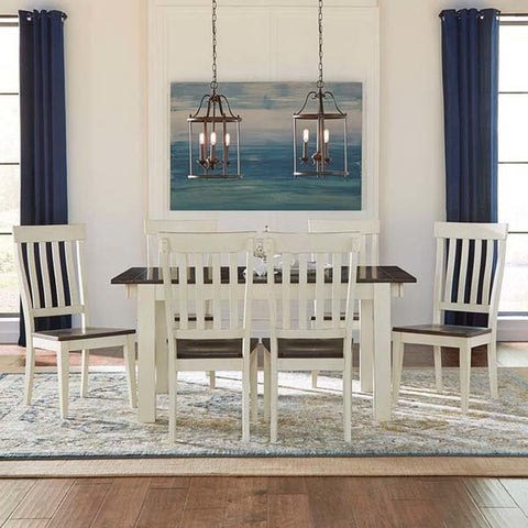 A-America Mariposa 7 Piece Leg Dining Room Set in Cocoa-Chalk