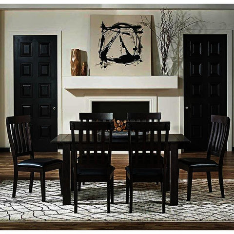 A-America Mariposa 7 Piece Leg Dining Room Set w/Slat Back Chairs in Warm Grey