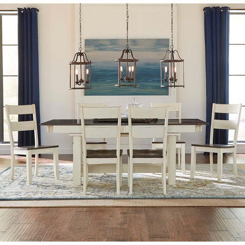A-America Mariposa 7 Piece Trestle Dining Room Set in Cocoa-Chalk