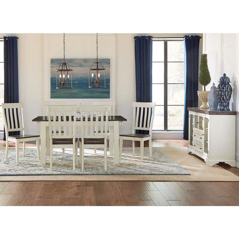 A-America Mariposa 8 Piece Leg Dining Room Set in Cocoa-Chalk
