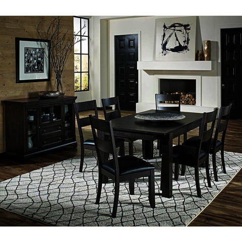 A-America Mariposa 8 Piece Leg Dining Room Set in Warm Grey